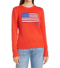 women's polo ralph lauren flag long sleeve cotton sweater, size small - red
