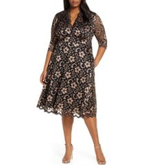 plus size women's kiyonna mon cheri lace cocktail dress, size 1x - black
