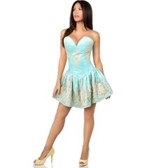 sexy elegant satin aqua floral embroidered steel boned short corset dress