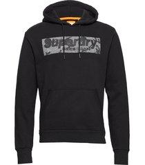 camo international hood hoodie trui zwart superdry