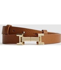 reiss hayley - leather square hinge belt in tan, womens, size l