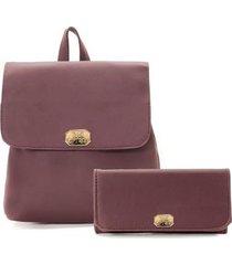 kit bolsa mochila lisa com carteira feminina - feminino