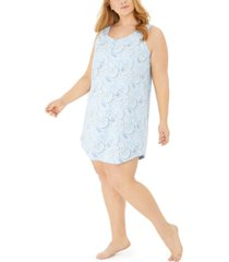 charter club plus size cotton sleeveless printed sleep shirt, created for macy's