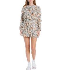 en saison printed ruffled mini skirt