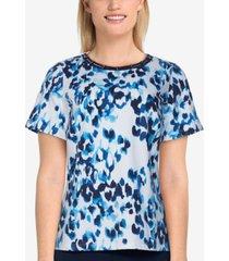 alfred dunner petite classics animal-print shirt