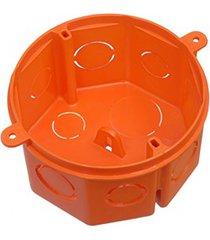 """caixa de luz octogonal em pvc flex fundo fixo reforçado 4x4"""" laranja"""