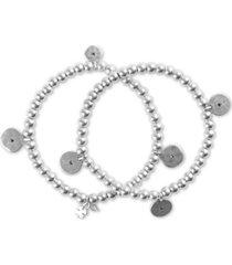 lucky brand silver-tone 2-pc. set pave disc charm beaded stretch bracelets