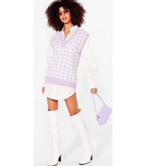 womens nowhere to be houndstooth knitted vest top - lilac