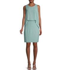 halston heritage women's solid overlay dress - mint - size 2