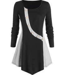 plus size contrast round collar tunic t shirt