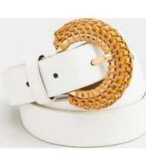lyric rattan buckle belt - white
