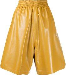 bottega veneta leather knee-length shorts - yellow