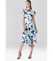 natori shibori floral, fluid crepe draped dress, women's, blue, size 4 natori