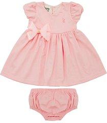 vestido gorette the cat mangas balonê e tapa fraldas rosa