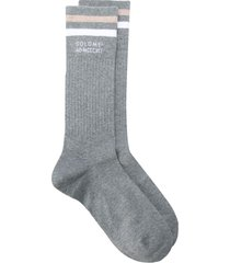 brunello cucinelli contrasting stripe mid-length socks - grey