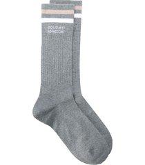 brunello cucinelli contrasting stripe mid-length socks - grey