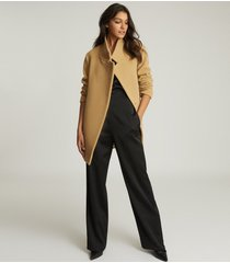reiss sicily - wool blend mid length coat in camel, womens, size 12