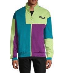 fila men's full-zip colorblock cotton-blend sweatshirt - peacoat - size xxl