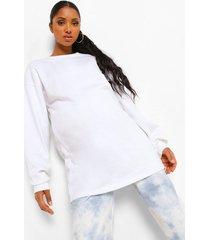 zwangerschaps oversized sweater met crewneck, white