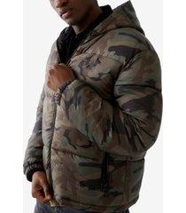 true religion men's camo puffer long sleeve jacket