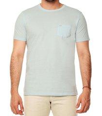 camiseta solida básica con bolsillo para hombre - azul