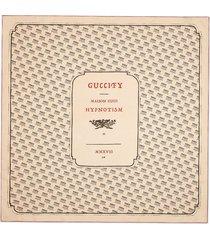 gucci ivory and black gucci invite print silk scarf - neutrals