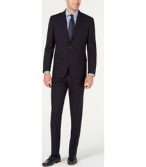 kenneth cole reaction men's slim-fit ready flex stretch navy blue windowpane suit
