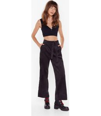 womens for the record-uroy high-waisted belted pants - black