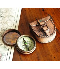antiqued brass poem compass with leather case new year gift