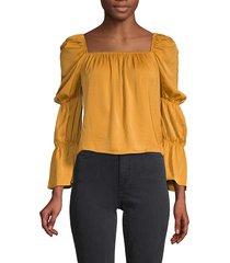 bcbgeneration women's puff-sleeve top - sunflower - size xs