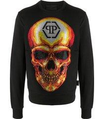philipp plein ls skull crystal-embellished sweatshirt - black