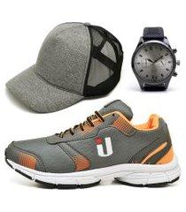tênis masculino ousy shoes training academia ultraleve laranja brinde boné e relógio