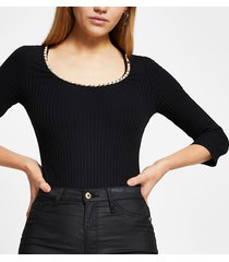 river island womens black chain trim long sleeve bodysuit