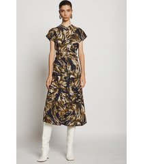 proenza schouler feather print cinched waist dress fatigue/black/tan feather/green 2