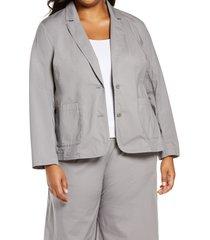 plus size women's eileen fisher stretch organic cotton blazer, size 3x - grey