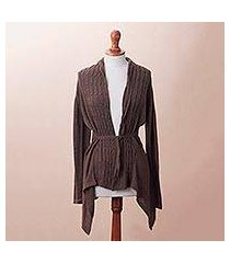 cotton blend cardigan, 'mahogany feminine enchantment' (peru)