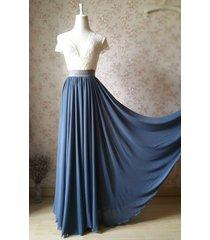 women dusty blue chiffon maxi skirt high waist maxi chiffon bridesmaid skirt nwt