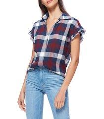 women's paige jaylin raw edge ruffle sleeve shirt, size medium - burgundy