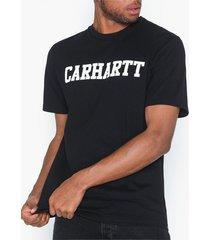 carhartt wip s/s college t-shirt t-shirts & linnen black/white