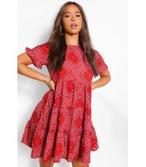 bandana print ruffle sleeve smock dress, red