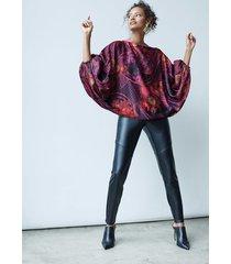 natori faux leather stretch leggings, women's, size m