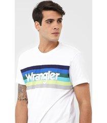 camiseta wrangler estampada branca - kanui
