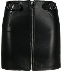 manokhi zip-up leather skirt - black