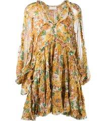 zimmermann poppy frill tiered dress - yellow