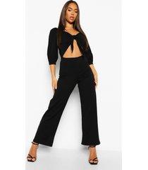 wide leg jumpsuit met strik en uitsnijding, black