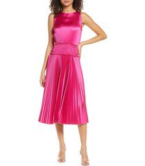 women's fraiche by j pleated satin cocktail dress, size medium - pink