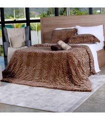 cobertor slim peles king com porta travesseiro xaxim - tessi - estampado - dafiti