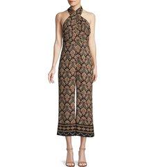 kobi halperin women's tara paisley silk halter jumpsuit - black multi - size 0