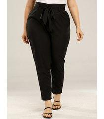 plus talla negro para sujetar diseño bolsillos laterales cinturón diseño pantalones