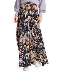 eye spy floral stretch-silk maxi skirt